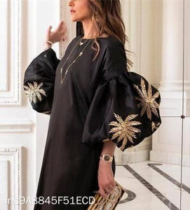 Round Collar Loose Bubble Sleeve Printing Maxi Dress black m