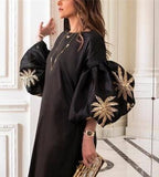 Round Collar Loose Bubble Sleeve Printing Maxi Dress black 2xl