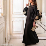 Round Collar Loose Bubble Sleeve Printing Maxi Dress black l