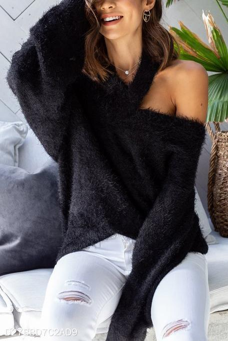 Fashion Casual Loose Plain Off Shoulder Long Sleeve Sweater black s