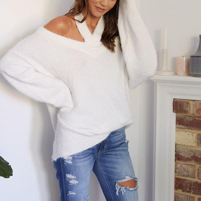 Fashion Casual Loose Plain Off Shoulder Long Sleeve Sweater