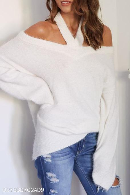 Fashion Casual Loose Plain Off Shoulder Long Sleeve Sweater white xl
