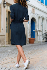 A Turtleneck Shirt Dress With Seven Sleeves blue xl