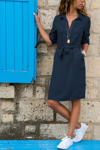 A Turtleneck Shirt Dress With Seven Sleeves navy_blue s