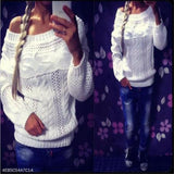 Fashion Casual Loose Plain Round Neck Long Sleeve Sweater white m