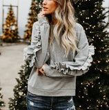 Solid Color Wooden Ear Round Collar Long-Sleeved Shirt gray l
