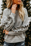 Solid Color Wooden Ear Round Collar Long-Sleeved Shirt gray s