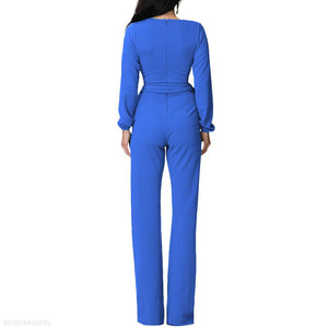 Fashion V Neck Trim Body With Long Sleeve Solid Color Jumpsuit red s