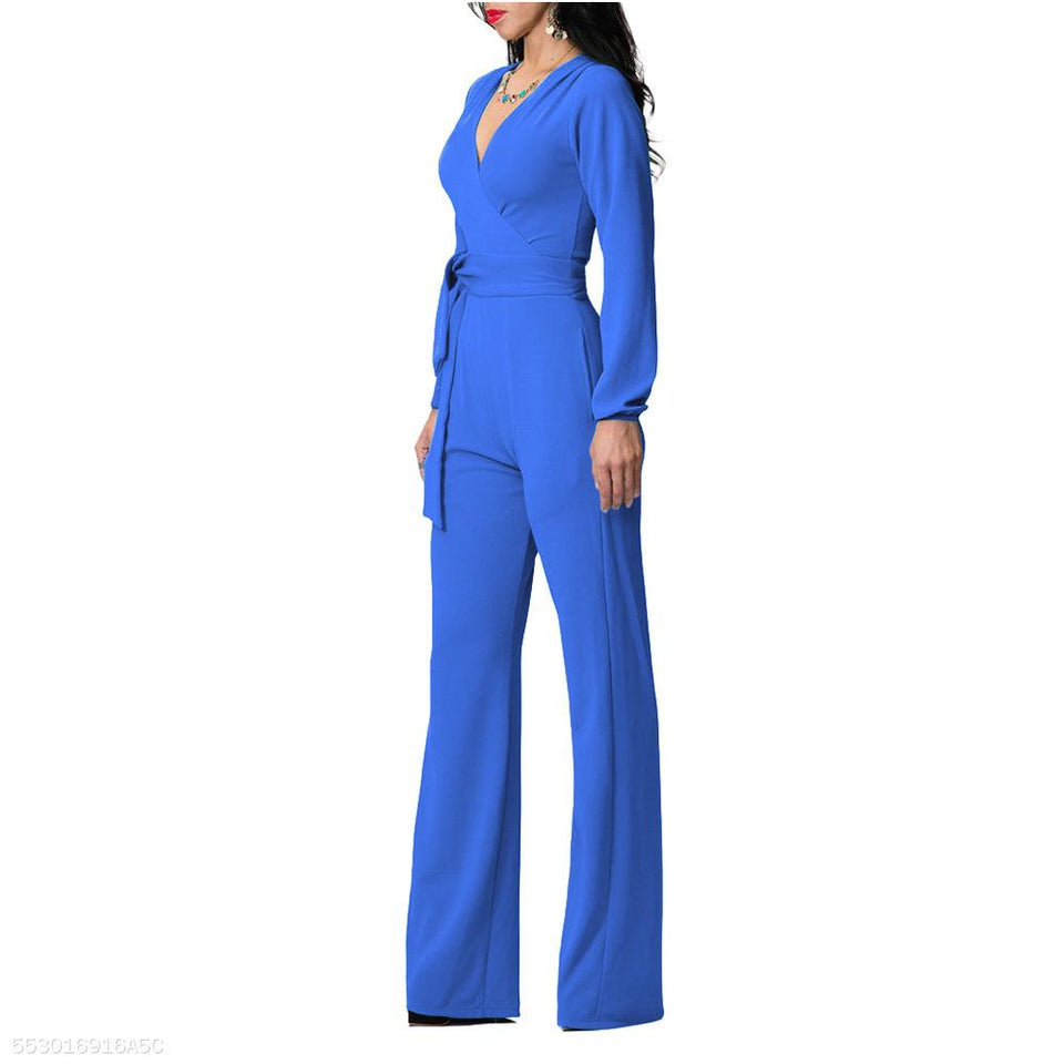 Fashion V Neck Trim Body With Long Sleeve Solid Color Jumpsuit royal_blue l