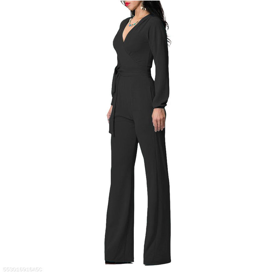 Fashion V Neck Trim Body With Long Sleeve Solid Color Jumpsuit black s