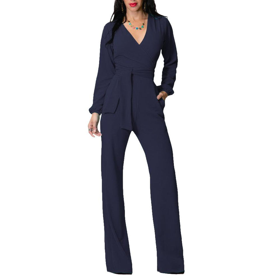 Fashion V Neck Trim Body With Long Sleeve Solid Color Jumpsuit blue xl