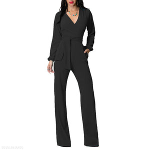 Fashion V Neck Trim Body With Long Sleeve Solid Color Jumpsuit black l