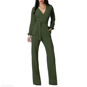 Fashion V Neck Trim Body With Long Sleeve Solid Color Jumpsuit red xl