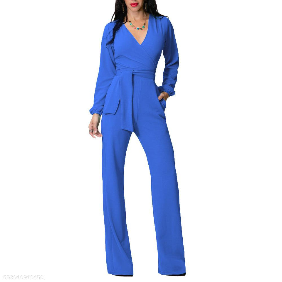 Fashion V Neck Trim Body With Long Sleeve Solid Color Jumpsuit royal_blue xl