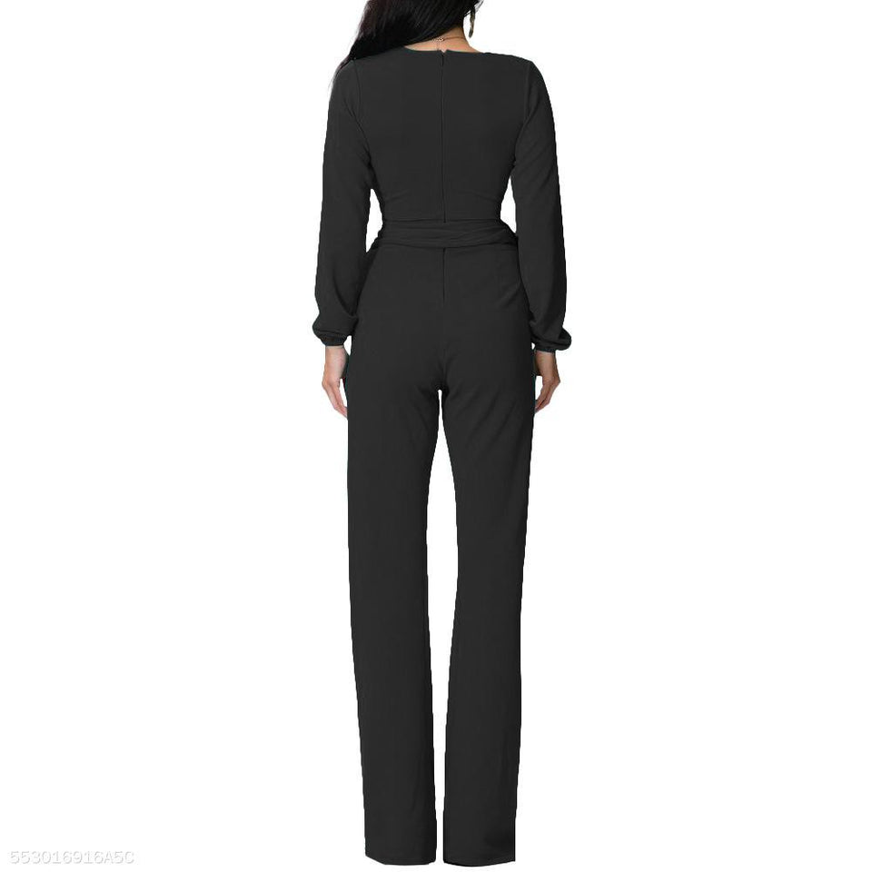 Fashion V Neck Trim Body With Long Sleeve Solid Color Jumpsuit black m