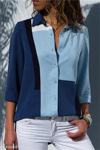 Leisure Long-Sleeved Chiffon Lady Shirt blue s