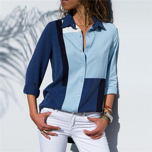 Leisure Long-Sleeved Chiffon Lady Shirt blue l