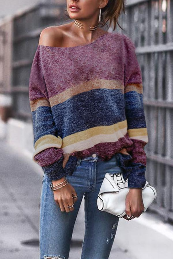 Fashion Off Shoulder Stripe Long Sleeve Sweaters same_as_photo s