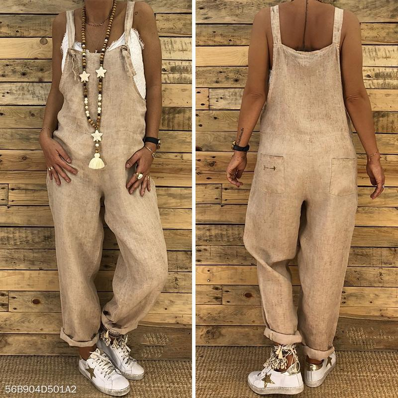 Sexy Slim Thin Jeans Wide Leg Jumpsuit khaki l