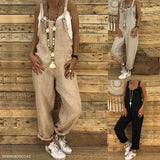 Sexy Slim Thin Jeans Wide Leg Jumpsuit khaki m