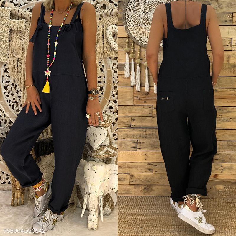 Sexy Slim Thin Jeans Wide Leg Jumpsuit black s