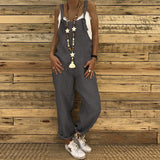Sexy Slim Thin Jeans Wide Leg Jumpsuit silver xl