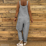 Sexy Slim Thin Jeans Wide Leg Jumpsuit dark_grey m