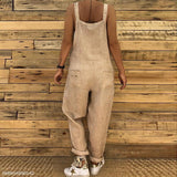 Sexy Slim Thin Jeans Wide Leg Jumpsuit khaki xl