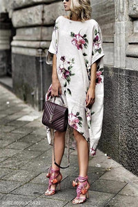 Round Collar Loose Casual Print Dress same_as_photo s