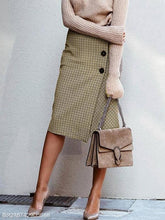 Khaki Houndstooth Button Maxi Skirt