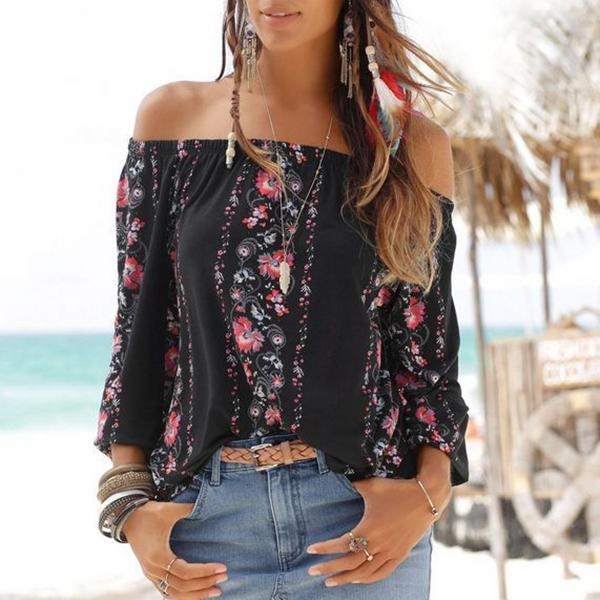 Fashion Off-Shoulder Floral  Long Sleeve T-Shirt black xl