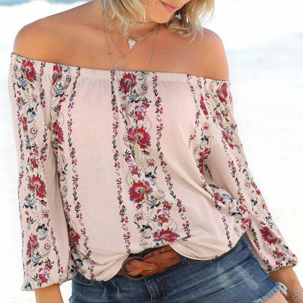 Fashion Off-Shoulder Floral  Long Sleeve T-Shirt black m