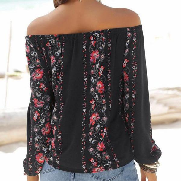 Fashion Off-Shoulder Floral  Long Sleeve T-Shirt apricot s