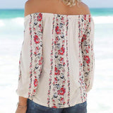 Fashion Off-Shoulder Floral  Long Sleeve T-Shirt black l