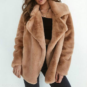 Elegant Lapel Solid Winter Velvet Women Outwear pink s