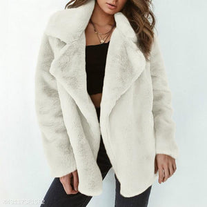 Elegant Lapel Solid Winter Velvet Women Outwear white xl