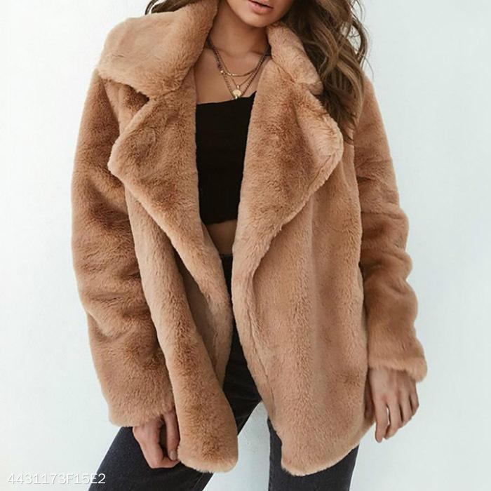 Elegant Lapel Solid Winter Velvet Women Outwear pink m