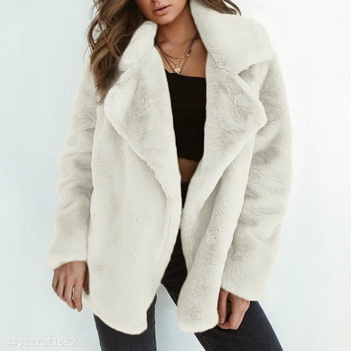 Elegant Lapel Solid Winter Velvet Women Outwear white l