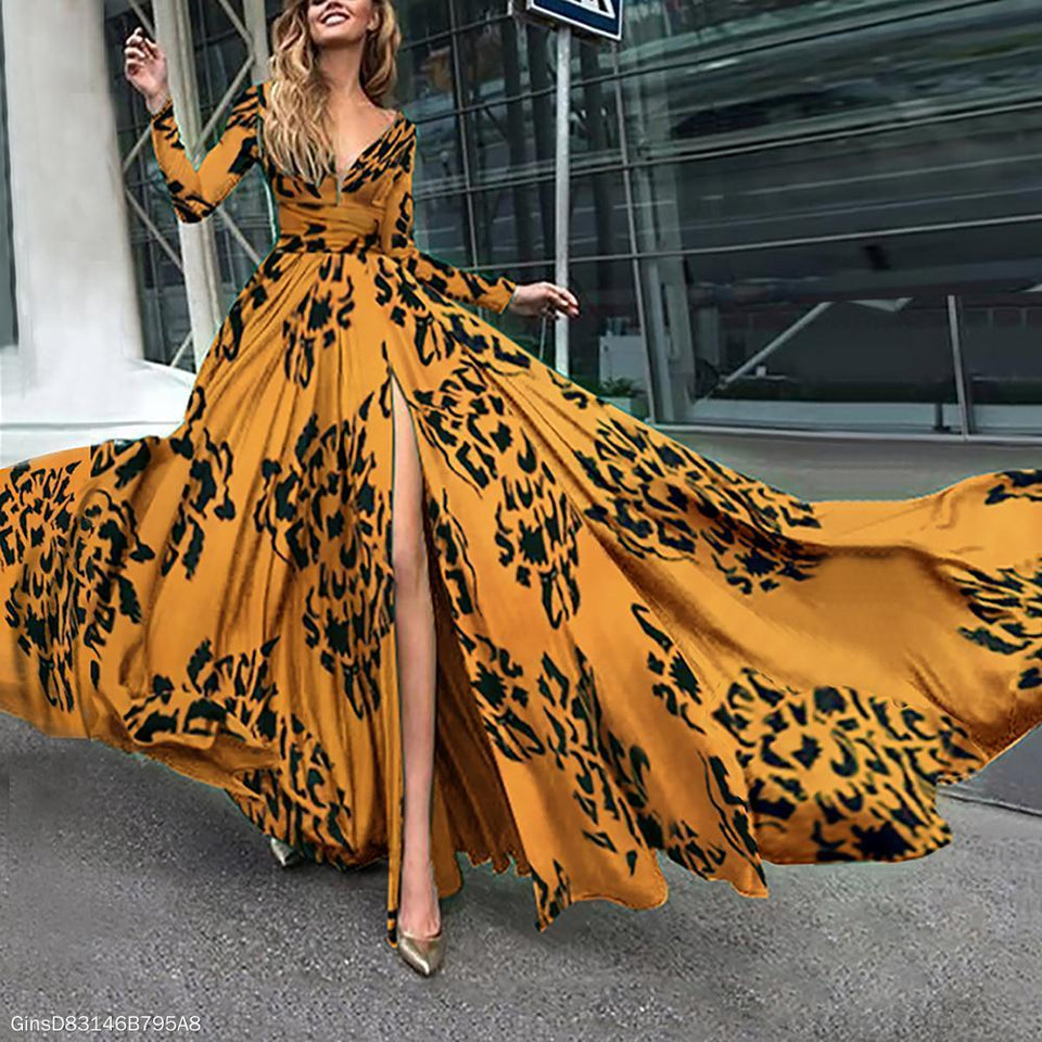 Long Sleeved V-Neck Diana Fall Maxi Dress yellow m