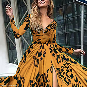 Long Sleeved V-Neck Diana Fall Maxi Dress yellow xl