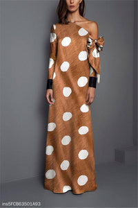 Sexy Shoulder Wave Point Printed Maxi Dress same_as_photo s