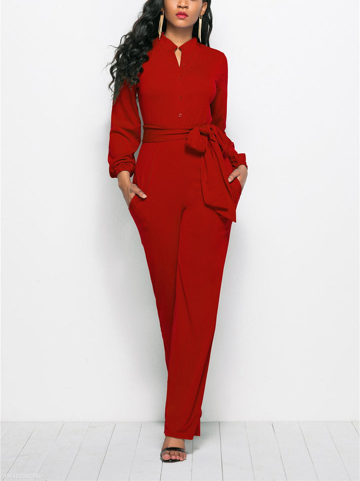 Fashion Solid Color Long-Sleeved Wide-Legged Jumpsuit royal_blue s