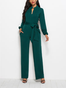 Fashion Solid Color Long-Sleeved Wide-Legged Jumpsuit green l