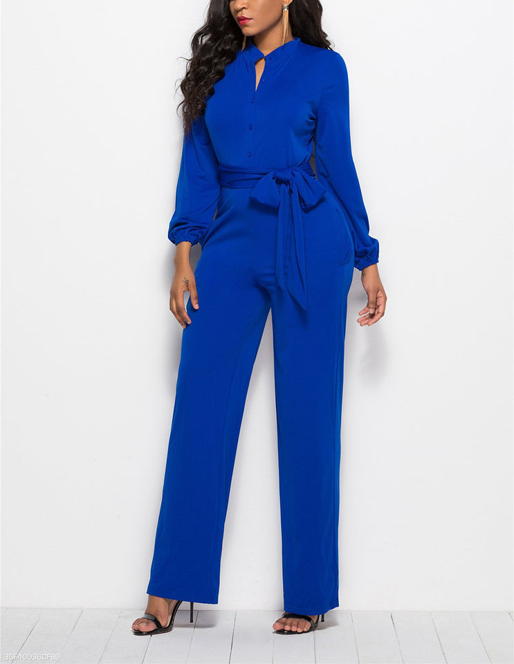 Fashion Solid Color Long-Sleeved Wide-Legged Jumpsuit dark_blue l