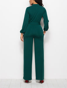 Fashion Solid Color Long-Sleeved Wide-Legged Jumpsuit green 2xl