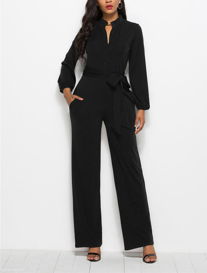 Fashion Solid Color Long-Sleeved Wide-Legged Jumpsuit dark_blue 2xl