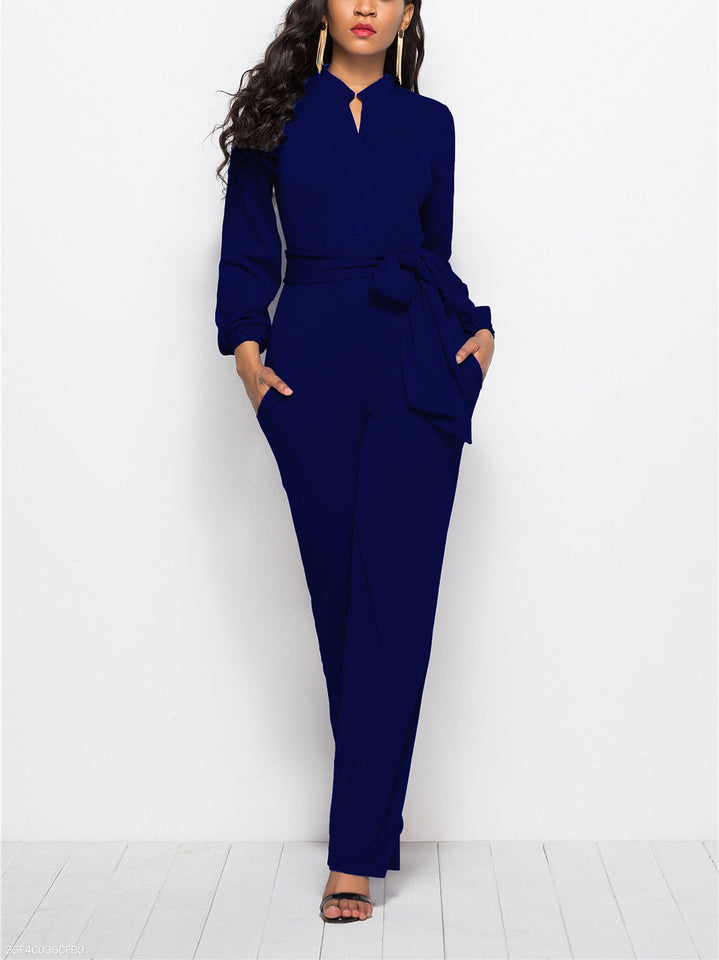 Fashion Solid Color Long-Sleeved Wide-Legged Jumpsuit green 3xl