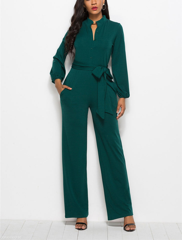 Fashion Solid Color Long-Sleeved Wide-Legged Jumpsuit green xl