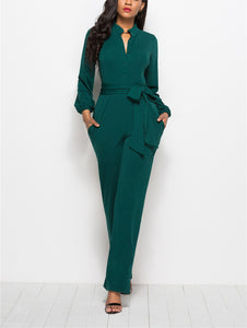 Fashion Solid Color Long-Sleeved Wide-Legged Jumpsuit green m