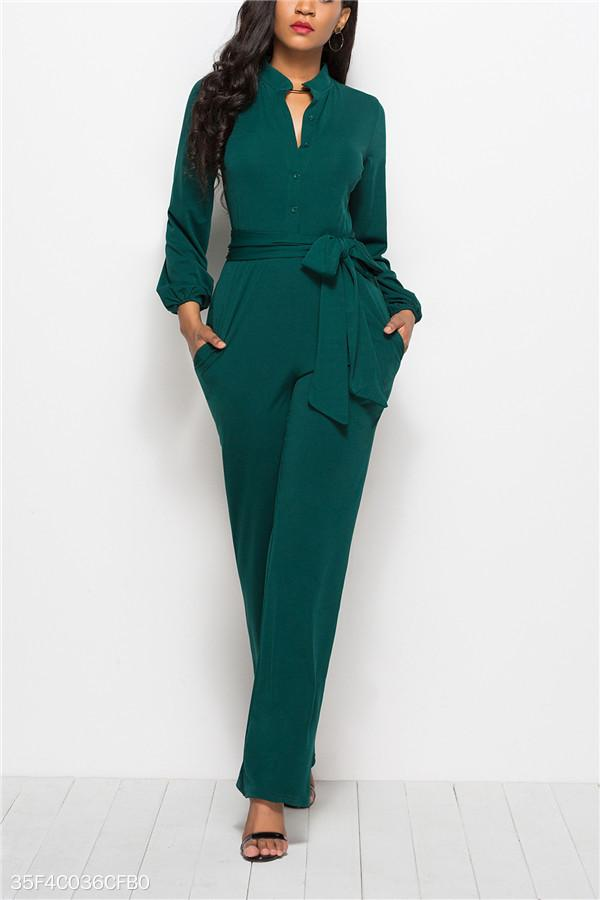 Fashion Solid Color Long-Sleeved Wide-Legged Jumpsuit green s